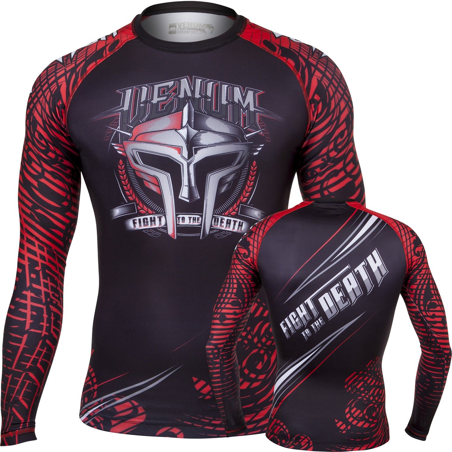 "Рашгард Venum ""Gladiator"" Rashguard - Black/Red - Long Sleeves"
