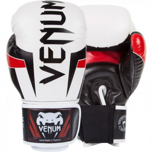"Перчатки боксерские Venum ""Elite"" Boxing Gloves - White/Black/Red"