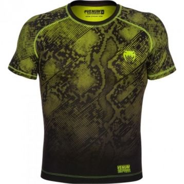 "Компрессионная футболка Venum ""Fusion"" Compression T-shirt - Black Yellow Short Sleeves"